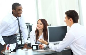 Office workers using CRM