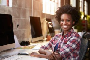 Lady happy with free recruitment software